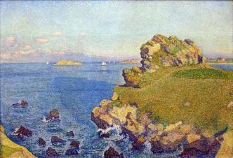 De rotspunt van Perkiridy bij Roscoff - schilderij van Theodore van Rijsselberghe